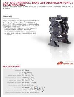 1/2 ARO Ingersoll-Rand Air Diaphragm Pump (Poly/Sant) 66605J-3EB 66605 J 3 EB