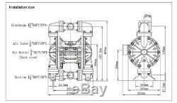 94.6GPM Air-Operated Double Diaphragm Pump 1/2'' BSPT/NPT Air Inlet Aluminium