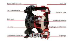 Air Operated Double Diaphragm Pump-15GPM, 3/8'' NPT Inlet & Outlet, Santoprene