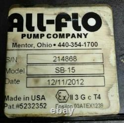 All-Flo SB-15 Air Driven Double Diaphragm 316 SS/Geolast pump, size 1 1/2'' In