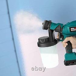 Cordless Paint Sprayer, Electric HVLP Powerful Spray Gun with 3 Spray