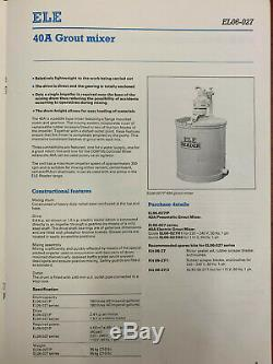 ELE Reader Air Operated Diaphragm Grout Pump & Twin Paddle Type Mixers