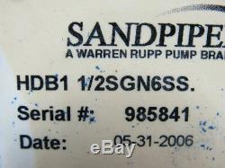 SANDPIPER HDB1-1/2SGN6SS Air Operated Dual Diaphragm Pump Stainless Wetted