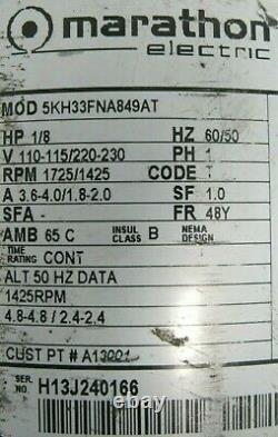 Used Air Dimensions R222-bt-aa1-c Dia-vac Pump R222btaa1c 1/8hp 110-115/220-230v