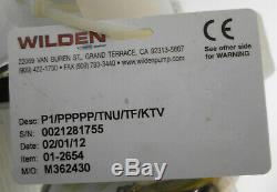 Wilden 01-2654 Air Operated Double Diaphragm Pump P1/PPPPP/TNU/TF/KTV